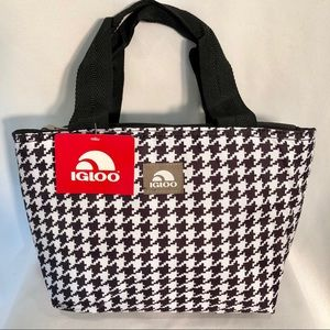 1e9054cded Houndstooth IGLOO Insulated Lunch Tote Bag NWT